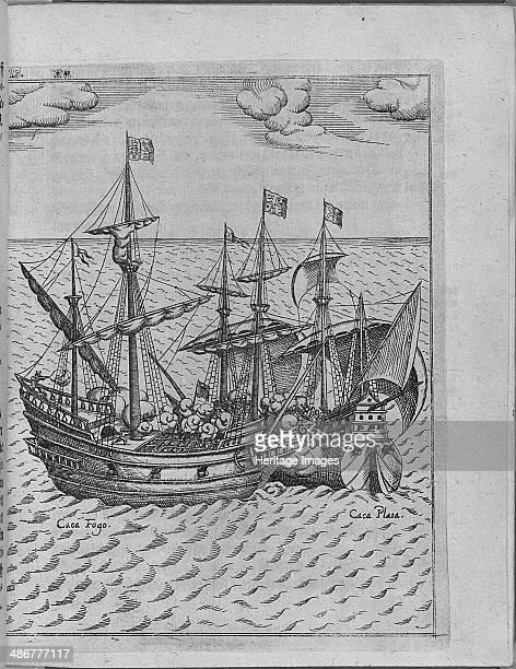Battle between Francis Drake's ship Golden Hind and the Spanish ship Cacafuego From Levinus Hulsiu Artist Anonymous