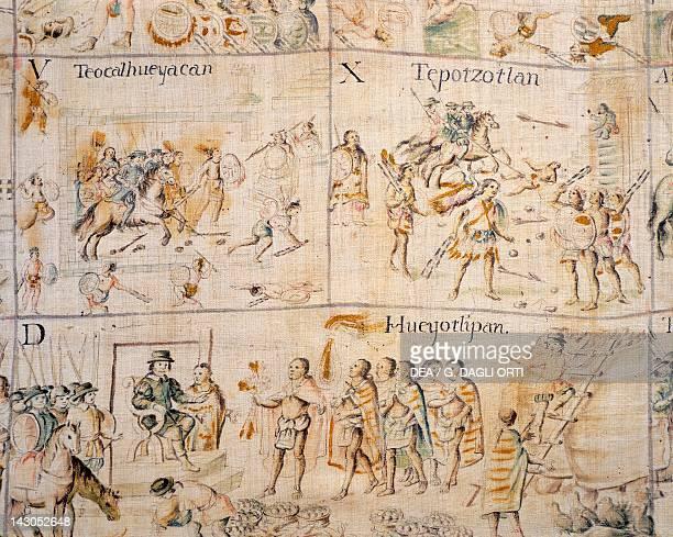 Battle between Indians and Spaniards copy on canvas of the Code of Tlaxcala 18th Century Mexico City Museo Nacional De Antropología
