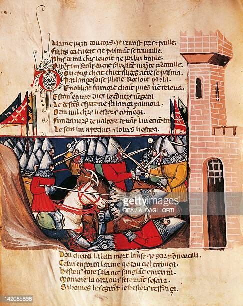 Battle between knights miniature from the Entree d'Espagne manuscript 14th Century