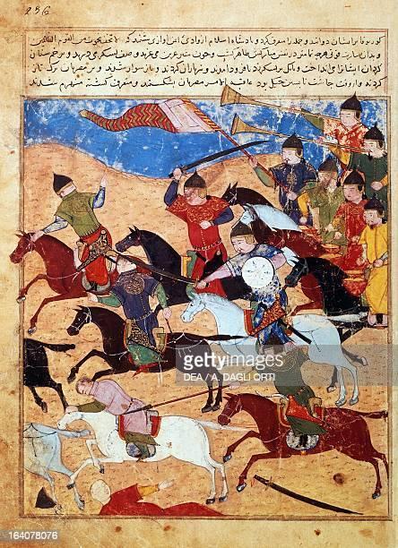 Battle between Mongolians and Egyptians miniature from manuscript 1113 folio 236 Persia 14th century Paris Bibliothèque Nationale De France