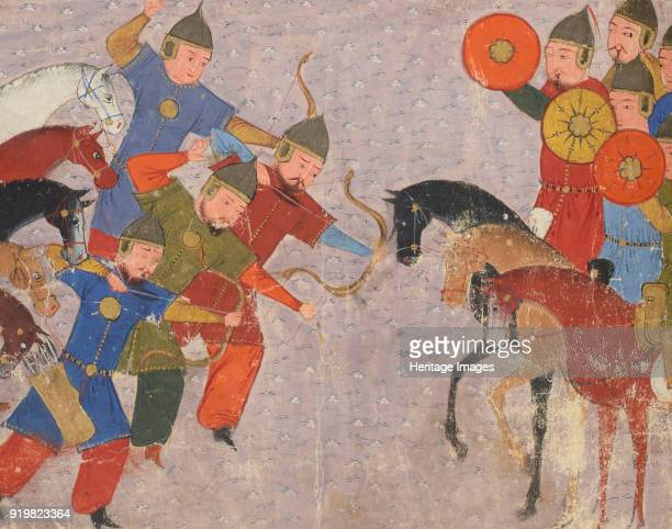 Battle between the Khwarezmian army and the Mongols Miniature from Jami' altawarikh ca 1430 Found in the collection of Bibliothèque Nationale de...