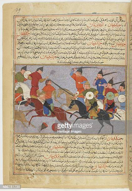 Battle between the Mongol and Jin Jurchen armies in north China in 1211 Miniature from Jami' altaw Artist Anonymous