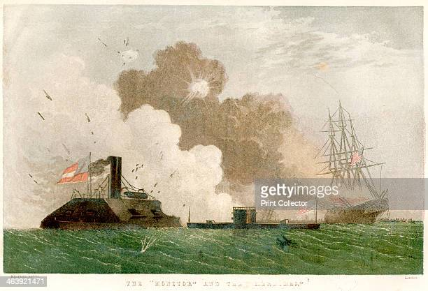 Battle between the 'Monitor' and the 'Merrimac' American Civil War 1862 The Battle of Hampton Roads Virginia which was fought on 89 March 1862...