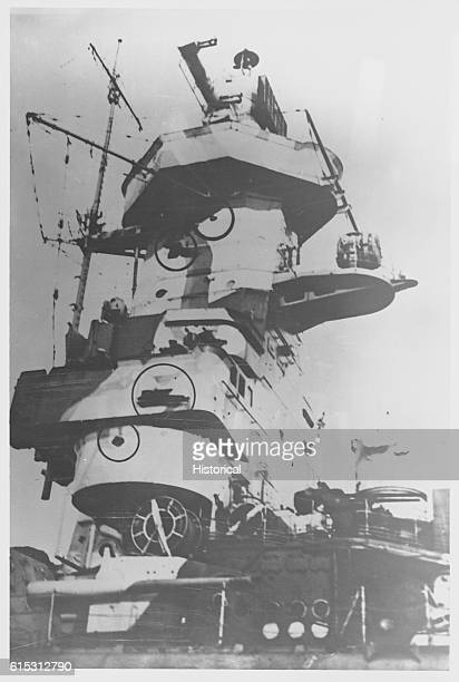 Battle damaged Admiral Graf Spee a German armored ship that was used to attack merchant shipping It was sunk on December 17 1939 Montevideo Argentina...
