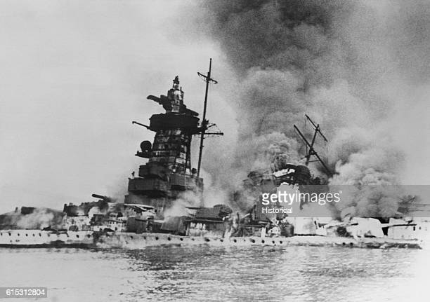 A battle damaged Admiral Graf Spee an armored ship that was used to attack merchant shipping It was sunk on December 17 1939 Montevideo Argentina...