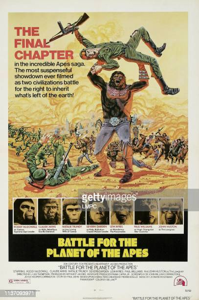 Battle For The Planet Of The Apes poster bottom lr Roddy McDowell Claude Akins Natalie Trundy Severn Darden Lew Ayres Paul Williams John Huston on...