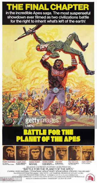 Battle For The Planet Of The Apes poster US poster art bottom from left Roddy McDowall Claude Akins Natalie Trundy Severn Darden Lew Ayres Paul...