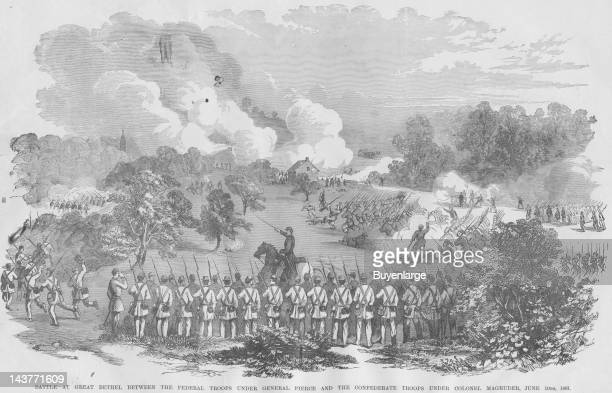 Battle Great Bethel Confederates under Magruder Route Union Great Bethel Virginia June 10 1861 From an issue of Frank Leslie's Illustrated Almanac