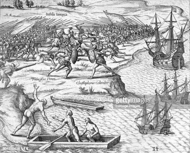 Battle in Jamaica between Christopher Columbus and Francisco Poraz 1504 A scene from Columbus' fourth and final voyage of discovery to the New World...