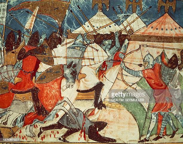 Battle in the Greek army's camp miniature from Trojan history manuscript Spain 15th Century