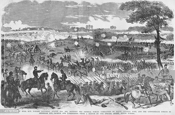 Battle of 2nd Manassas or Second Bull Run Manassas Virginia August 30 1862 From an issue of Frank Leslie's Illustrated Almanac