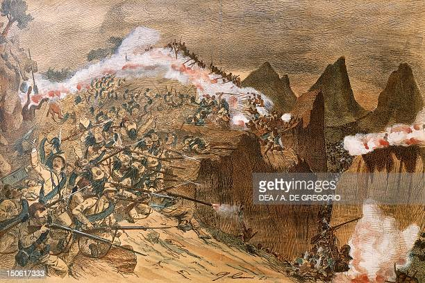 Battle of Adwa the first and second battalion of riflemen on Mount Rajo March 1 1896 War in Abyssinia Ethiopia 19th century