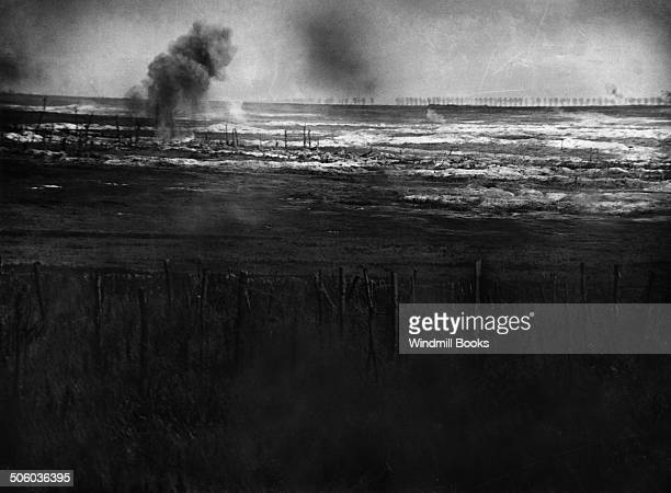 Battle of Albert. British Artillery bombarding the German trenches previous to the attack on La Boisselle, 1st July, 1916. British Front - France...