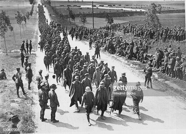 Battle of Amiens Prisoners arriving at a 'cage' near Amiens August 1918