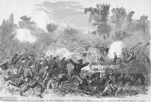 Battle of Baker's Creek Grant Defeats Pemberton Vicksburg Mississippi May 16 1862 From an issue of Frank Leslie's Illustrated Almanac