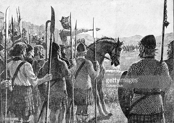 Battle of Bannockburn - Robert the Bruce reviewing his troops before battle. 24 June 1314. Significant Scottish victory in the Wars of Scottish...