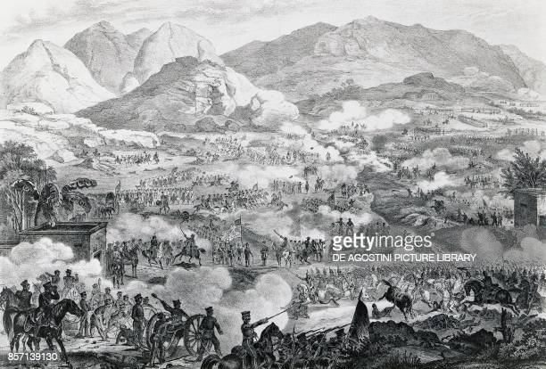 Battle of Buena Vista also known as the Battle of Angostura, General Zachary Taylor's troops forcing General Antonio Lopez de Santa Anna's retreat,...