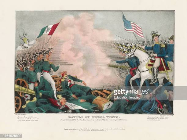 Battle of Buena Vista, Fought February 23rd The American Army under Genl Taylor were Completely Victorious, Lithograph by J Bailie.