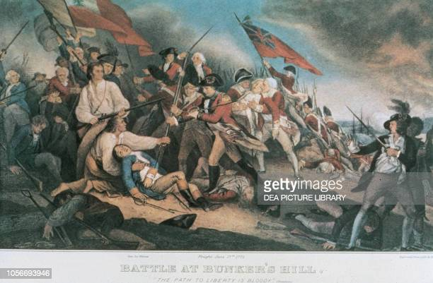 Battle of Bunker Hill on June 17 United States of America, American Revolutionary War, coloured engraving from a painting by John Trumbull.
