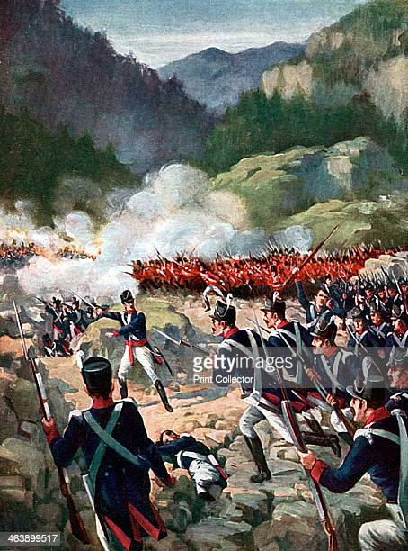 Battle of Busaco, Peninsular War, Portugal, 27 September 1810. British and Portuguese troops commanded by Wellington repulsed the French under...