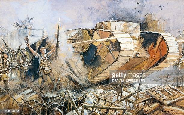 Battle of Cambrai a British Mark I tank World War I France 20th century