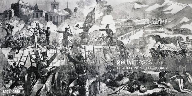 Battle of Chapultepec, General Winfield Scott's troops attacking Chapultepec castle, September 13 Mexican-American war, engraving, Mexico, 19th...