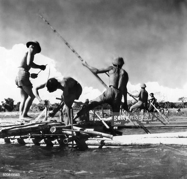 Battle of Diem Bien Phu 1954Dien Bien Phu Vietminh army engineer making pontoon bridge over the river