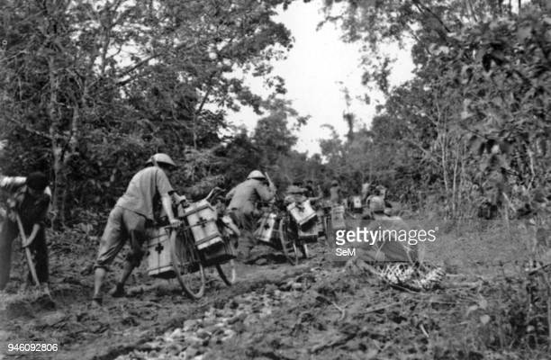 Battle of Diem Bien Phu 1954Dien Bien Phu Vietminh medical soldiers pharmaceutical soldiers use packbikes to transport medicaments to the battles