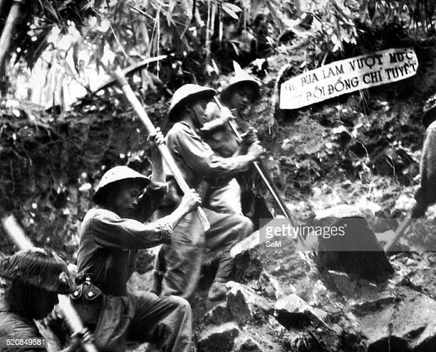 Battle of Diem Bien Phu 1954Dien Bien Phu Vietnamese soldiers of the Vietminh making the road to pull canons to the battelfield