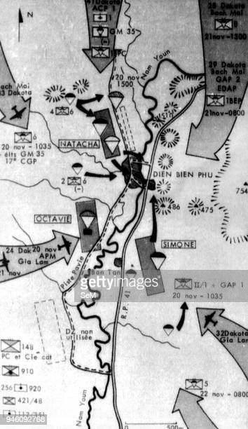 Battle of Dien Bien Phu 1954Sketch of 'Beaver' Operation French army let the parachute troupe into Dien Bien Phu from 20 to 22 Novembre 1953