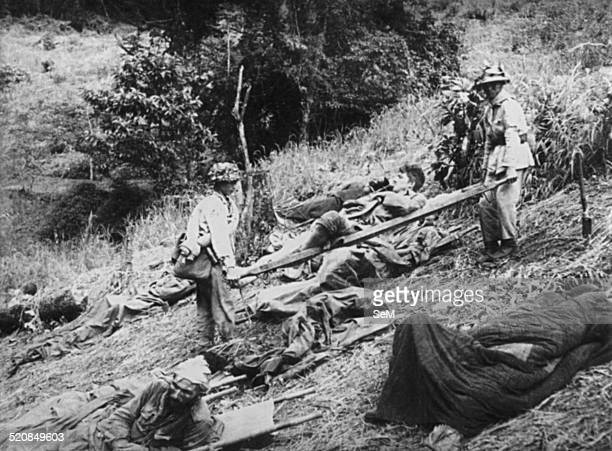 Battle of Dien Bien Phu 1954Vietminh Dien Bien Phu after each combat the prisoners of war of the enemies who are wounded are trnsported out the...