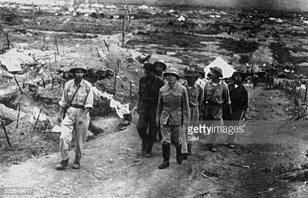 Battle of Dien Bien Phu1954 after Dien Bien Phu victory General Vo Nguyen Giap viewing Dien Bien Phu battlefield