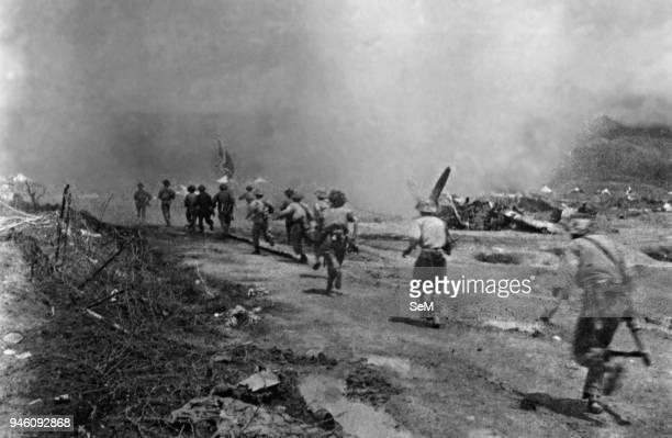 Battle of Dien Bien Phu-1954 Dien Bien Phu, attack arrow through Muong Thanh Airport.