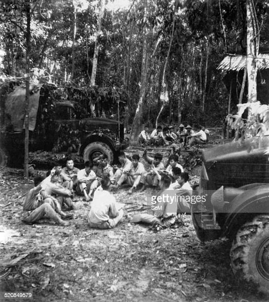 Battle of Dien Bien Phu1954 Dien Bien Phu Vietminh cadres and soldiers of military truck group meet one another to learn from experiences before...