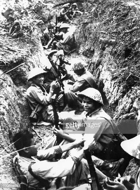 Battle of Dien Bien Phu1954 In the Vietminh's trench before the Hhour of Dien Bien Phu