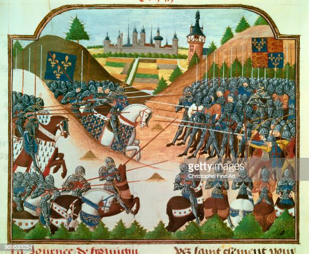 Battle of Formigny between French and English in April 1450 during the Hundred Years War Miniature Bibliotheque Nationale de France in Paris France