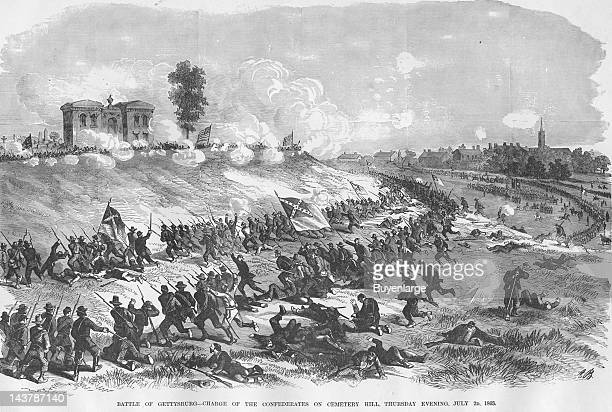 Battle of Gettysburg at Cemetery Hill, Gettysburg, Pennsylvania, July 2, 1863. From an issue of Frank Leslie's Illustrated Almanac.
