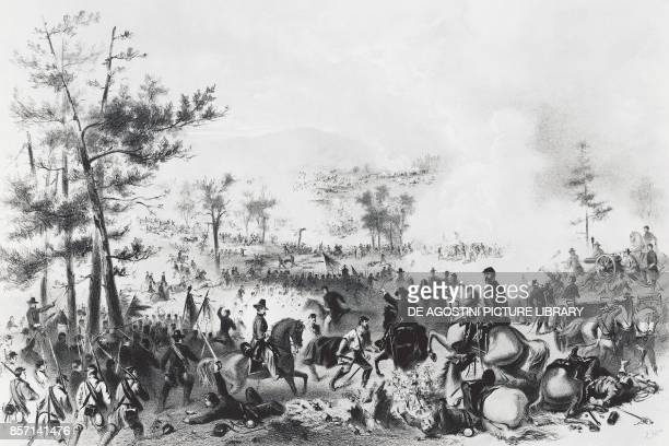 Battle of Gettysburg, victory for the Union forces led by George Gordon Meade and the defeat of General Robert Edward Lee, July 1-3 American Civil...