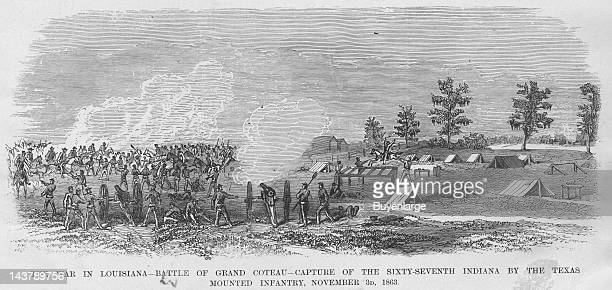 Battle of Grand Coteau, Louisiana with Texas Mounted Infantry - Cavalry; Bayou Bourbeux, Grand Coteau, Louisiana, November 3, 1863. From an issue of...