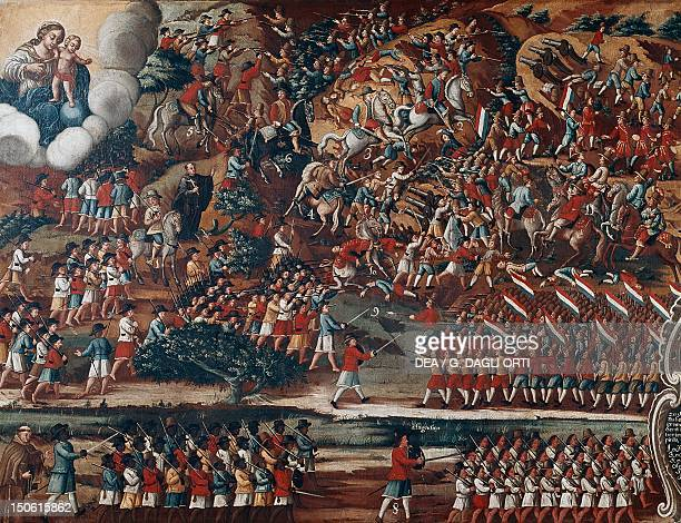 Battle of Guararapes February 18 detail of an exvoto dated 1758 Brazil 17th century