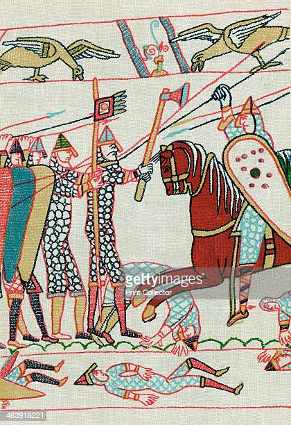 Battle of Hastings 1066 Harold II's AngloSaxon troops led by an armoured standard bearer and a warrior with an axe confront Norman cavalryman armed...