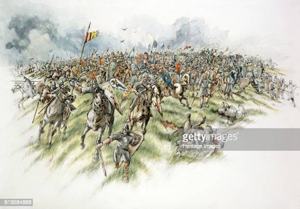 Battle of Hastings 1066 Reconstruction drawing showing the Bretons fleeing downhill pursued by the English Fyrdmen