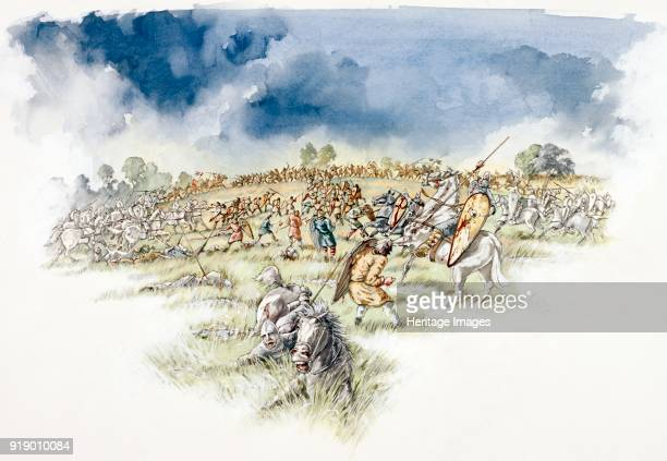 Battle of Hastings 1066 Reconstruction drawing showing the Normans counterattacking English Fyrdmen cut off on a hillock
