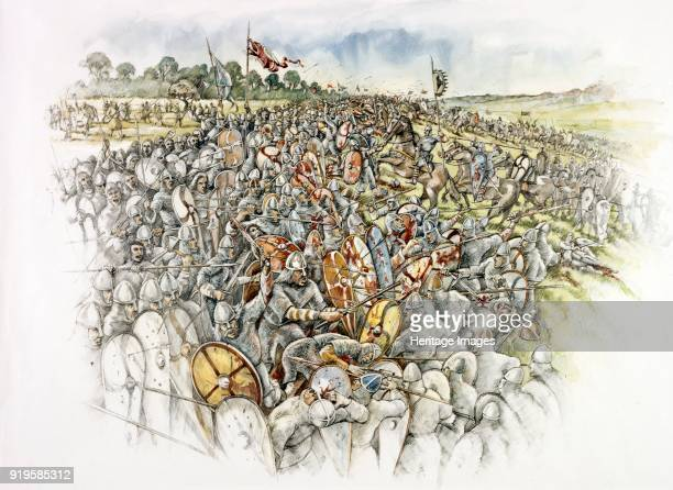 Battle of Hastings 1066 Reconstruction drawing showing waves of Norman cavalry and infantry smashing into the English shield wall