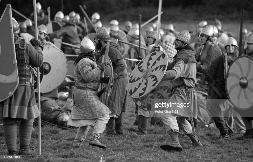 Battle of Hastings 10666 annual reenactment - medieval combat : Stock Photo