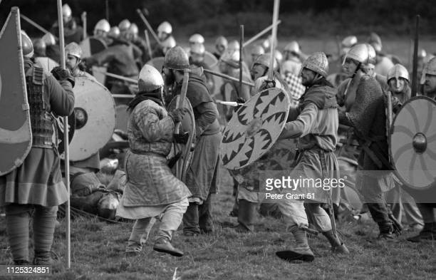 battle of hastings 10666 annual reenactment - medieval combat - battle of hastings stock photos and pictures