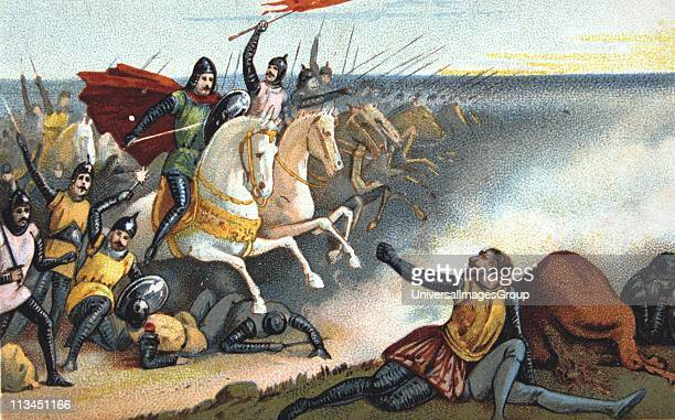 Battle of Hastings 14 October 1066 William of Normandy defeating Harold II of England Nineteenth century Trade Card Chromolithograph'