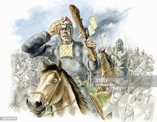 Battle of Hastings Battle Abbey East Sussex Battle of Hastings reconstruction drawing with William pushing his helmet back to show troops he is alive...