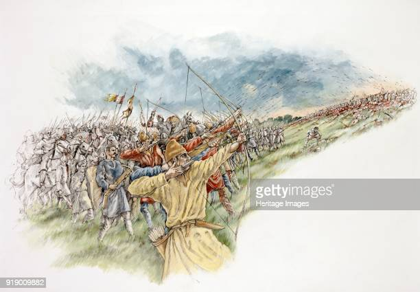 Battle of Hastings Reconstruction drawing showing William the Conqueror using his archers again in a last attack on the English
