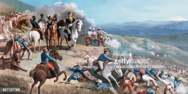 Battle of Ibarra , Simon Bolivar leading rebel troups against the Spanish forces of Agustin Agualongo, fresco in Ibarra town hall, Ecuador, 19th...